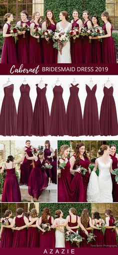 Fall Wedding Color Trends - Azazie Cabernet Bridesmaid Dresses Dress your bridesmaids in the azazie cabernet/burgundy color for your fall wedding or winter wedding. Burgundy Bridesmaid Dresses, Wedding Bridesmaid Dresses, Azazie Bridesmaid, Fall Wedding Colors, Burgundy Wedding, Vetement Fashion, Maid Of Honor, The Dress, Marie