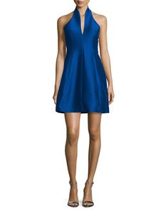 Structured+Faille+Halter+Dress,+Royal+Blue+by+Halston+Heritage+at+Neiman+Marcus.