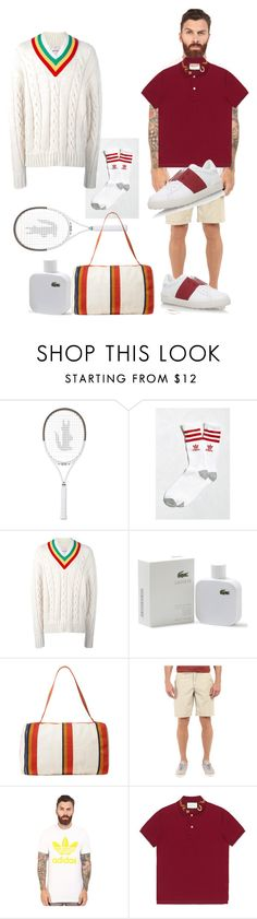 """""""Game Set Match"""" by slim-chady ❤ liked on Polyvore featuring Lacoste, adidas, Palm Angels, Hermès, True Grit, adidas Originals, Gucci, Valentino, men's fashion and menswear"""