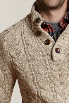Land's End Canvas Button-neck Cable Sweater, Dark Camel Marl $50 #lands