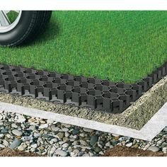 Shop for Permeable Grass Paver for Parking lot, Driveways - Set of 4 - Sf. Get free delivery at Overstock - Your Online Home Improvement Shop! Get in rewards with Club O!Techno Earth permeable grass and gravel pavers are designed for vehicular load a Permeable Driveway, Driveway Landscaping, Driveway Ideas, Gravel Driveway, Patio Ideas, Backyard Pavers, Diy Driveway, Walkway, Grass Pavers