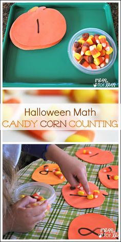 Mess For Less: Halloween Math: Candy Corn Counting. Need to work on teens, this would be motivationf Here is a good use for your candy corn. A math center Holiday Activities, Toddler Activities, Activities For Kids, Preschool Halloween Activities, Halloween Activities For Preschoolers, Space Activities, Number Activities, Preschool Ideas, Preschool Learning