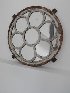 Decorative circular iron painted window mirror