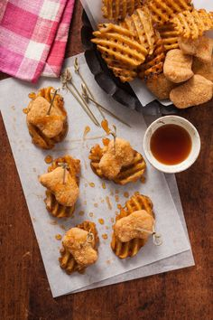 Super Quick and Easy Chicken and Waffle Bites | Complete with a sweet maple dipping sauce, this recipe makes the perfect appetizer for kids' parties!
