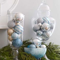Ornaments in Glass Dishes    Create an elegant ornament display for your holiday mantel with a few footed glass containers and an array of colorful ornaments in different shapes and sizes. Stick with a color theme for cohesiveness, picking an accent color to make the display stand out. Place the ornament-filled dishes on your mantel amidst a garland for a classic look.