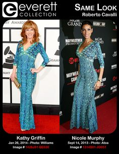 Stunning Ladies, Same Look: Kathy Griffin and Nicole Murphy in Roberto Cavalli