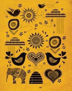 Birds bees - Illust by Farnell Scandinavian Folk Art, Bee Art, Simple Art, Print Patterns, Embroidery Patterns, Graphic Illustration, Tattoo Project, Design Art, Art Prints