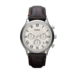 "FOSSIL Ansel Leather Watch - Black  1.62"" Diameter"