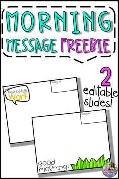 This freebie contains two editable slides from my year long Morning Message Slides resource. Slides come in both PowerPoint and PDF versions so you can find which works best for you! Slides included in this freebie: - 1 Good Morning! slide - 1 Morning Work slide Classroom Procedures, Classroom Activities, Classroom Organization, Classroom Management, 4th Grade Classroom, New Classroom, Classroom Community, Google Classroom, Classroom Ideas