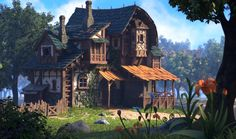 ArtStation - OKU K.I. Kim's House with stables 3D aspects done by me, Allan Bernardo