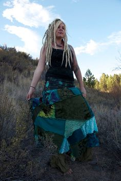 Blue N Green Gypsy Skirt Medium Large by IntergalacticApparel, $194.00
