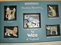 Vintage Boxed Set Wade Whimsies Porcelain Miniatures ~Wild Animals~ | eBay Peter Rabbit And Friends, Red Rose Tea, Rhinoceros, Mini Things, Vintage Box, Miniture Things, Baby Elephant, Red Roses, Porcelain