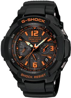 GW3000B-1A    Introducing the new large case Aviation concept watch with a 1/100-second chronograph designed to keep accurate time even under the stresses of high G forces that occur during air racing. Black resin band analog watch with orange face.  Tough Solar Power  Multi-Band 6 Atomic Timekeeping  Tough Movement  Centrifugal Force Resistance surpassing 12G
