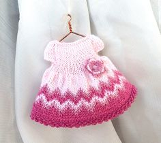 Miniature hand-knitted Pink Dress with crochet flower for 4-5 inches doll/ Dollhouse clothes, miniature doll clothing by AnnaToys on Etsy