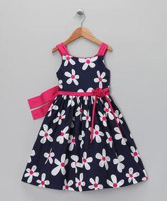Look what I found on #zulily! Navy & Pink Daisy Dress & Shrug - Toddler & Girls #zulilyfinds