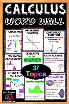 Calculus Word Wall Bulletin Topics to use all year. Use in original size or blow up to poster size. Great visuals - not just words! Ap Calculus, Algebra, College Math, Vocabulary Word Walls, Math Notes, Teaching Math, Teaching Ideas, Secondary Math, Math Help