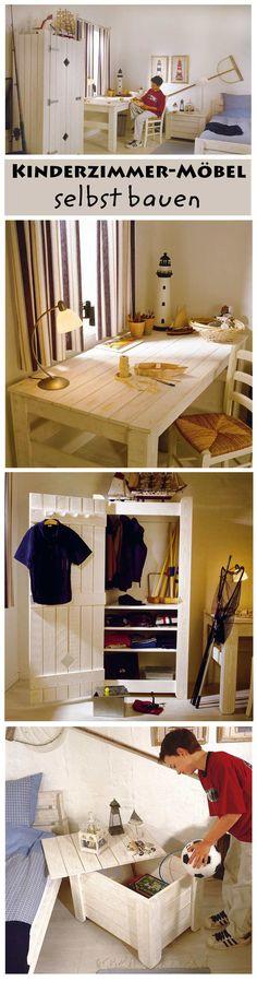 Zusammengewürfelte Kindermöbel müssen nicht sein. Unsere Möbel fürs Kinderzimmer sind perfekt aufeinander abgestimmt und sehen so extrem harmonisch aus. Wir zeigen dir den Bau der maritimen Möbel.