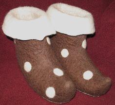 Handmade Wool Felted Slippers Booties