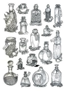 Bottles - lineart by JuliaTar Ink bottle with feather sticking out as handle! Tattoo Drawings, Body Art Tattoos, Art Drawings, Occult Tattoo, Bottle Drawing, Bottle Tattoo, Illustration, Book Of Shadows, Wicca