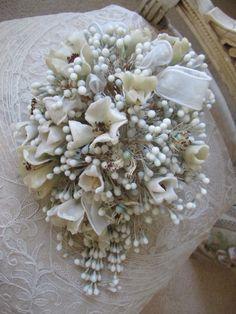 Antique french wax bridal bouquet