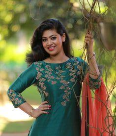 Sap Green Chandheri suit with Heavy Handwork Classic Indian salwar kameez Click VISIT link above for more info Silk Kurti Designs, Salwar Designs, Kurta Designs Women, Kurti Designs Party Wear, Fancy Blouse Designs, Bridal Blouse Designs, Blouse Neck Designs, Designs For Dresses, Kurti Embroidery Design