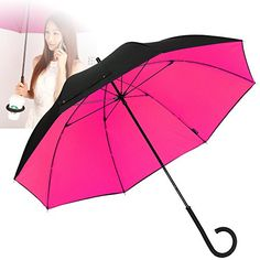NEWBRELLAs Durable Travel Umbrella with Unique Twistable C Handle - Solved Traditional Problem of Storage (Black/Rosy) -- To view further for this item, visit the image link.