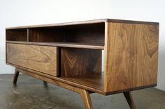 Hand built out of solid walnut with great attention to detail to last generations. Walnut Tv Stand, Tv Credenza, Tv Stand Cabinet, Wooden Tv Stands, Wood Crates, Walnut Finish, Mid Century Modern Furniture, Mid Century Design, Custom Wood