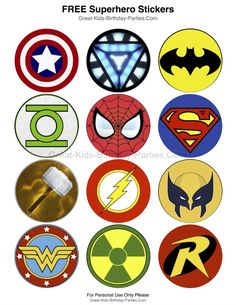 Superhero-Printables - Free Superhero stickers, each measures 2.5 inches (6.4 cm).  Lots of fun uses including stickers, cupcake toppers, party favors, prizes and more. Also in larger size for party signs and decorations.