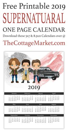 Free Printable 2020 One Page Supernatural Calendar. Come and celebrate the and final year of Supernatural with Sam Dean Cas and Baby. Supernatural Bloopers, Supernatural Tattoo, Supernatural Wallpaper, Supernatural Quotes, Sherlock Quotes, Sherlock John, Sherlock Holmes, Supernatural Crafts, Supernatural Fandom