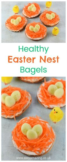 Quick and easy Easter nest bagels - fun healthy Easter food idea for kids #Easter #healthyeaster #easterfood #easterecipe #funfood #bagel #foodart #edibleart #kidsfood #healthykids #familyfood #lunch #sandwich #cutefood