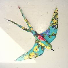 Swallow soft sculpture made from vintage teatowel