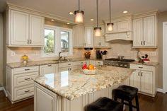 Yellow River Granite#granite #river #yellow Outdoor Kitchen Countertops, New Kitchen Cabinets, Granite Kitchen, Kitchen Redo, Kitchen Island, White Cabinets, Cream Cabinets, Cream Colored Kitchen Cabinets, Hickory Kitchen