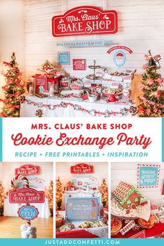This Mrs. Claus' Bake Shop Cookie Exchange Party is complete with inspiration, ideas, free printables and a recipe! Create this Christmas cookie exchange party theme in no time with the free printable downloads from Just Add Confetti! #freeprintable #partyprintable #JustAddConfetti #cookieexchange #Christmascookies