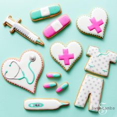 Learn how to decorate a nurse themed cookie set in this tutorial by SweetAmbs.