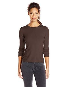 Sofie Women's 100% Cashmere Long Sleeve Crew Neck Pullover Sweater, Brown, X-Large