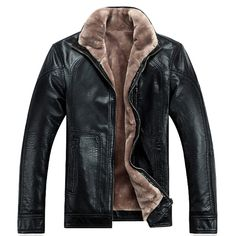 Free Shipping Hot Sale Winter Thick Sheep Leather Garment Casual flocking Leather Jacket Mens Clothing Leather Jacket Coat Men