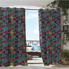 Outdoor Privacy Curtain for Pergola, Modern Rap Hip Hop Glasses Funky Triangles Cassette Tapes on Minimalist Illustration, Thermal Insulated Water Repellent Drape for Balcony x Inch Multicolo Outdoor Privacy, Canopy Outdoor, Outdoor Areas, Sun Sails, Sail Canopies, Concrete Footings, Privacy Curtains, Sun Sail Shade, Steel Columns