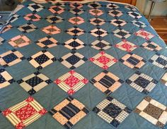 ANTIQUE VTG INDIGO BLUE PRIMITIVE QUILT C1900 HAND SEWN NINE PATCH COUNTRY PRIM