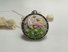 OOAK Home sweet home Polymer Clay Applique by RainbowDayHappy