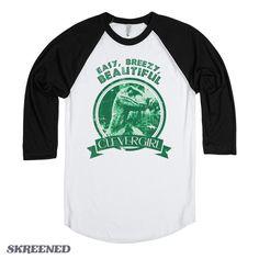 Clever Girl | Jurassic Park Shirts | Movie Parody shirts | Black Baseball Tee by Skreened on Etsy https://www.etsy.com/listing/213854456/clever-girl-jurassic-park-shirts-movie