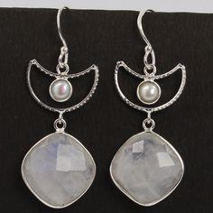 925 Sterling Silver Real PEARL & RAINBOW MOONSTONE Gemstones Earrings Wholesale #Unbranded #DropDangle