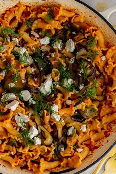This spicy pasta is the perfect thing to warm you up on a cold night. The pasta is tossed with a spicy harissa sauce, thinly sliced fried aubergine and plenty of crumbled feta. #spicypasta #harissapasta #pastarecipe #thecookreport Vegetarian Recipes Easy, Spicy Recipes, Delicious Recipes, Healthy Recipes, Veggie Meals, Veggie Recipes, Pasta Recipes, Perfect Pasta Recipe, Spicy Pasta