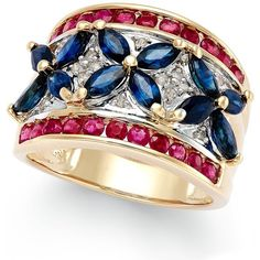 Sapphire (3 ct. t.w.), Ruby (1-1/10 ct. t.w.) and Diamond Accent Ring... (1 630 AUD) ❤ liked on Polyvore featuring jewelry, rings, no color, 14k ruby ring, yellow gold ruby ring, yellow gold flower ring, flower ring and 14k gold jewelry