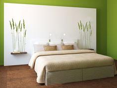 schlafzimmer-ideen-für-bett-kopfteil-selber-machen-aus-holzrahmen ... - Schlafzimmer Deko Ideen