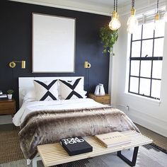 Moody dark blue wall with modern art and brass fixtures