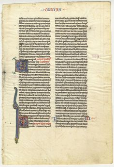 Verso of leaf from the Book of Tobit. Leaf from c. 1240 vellum manuscript. Example of a 'pocket Bible' produced in Paris. #miamioh #manuscripts #illumination