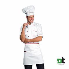 ABBIGLIAMENTO PROFESSIONALE · GREMBIULE CUOCO VITA CON TASCA BIANCO ROSSO  70x46 ISACCO cucina ristorante chef 846e387f7fd7