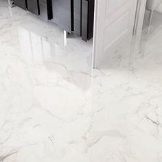marble flooring Stones Kalacata Carrara Marble Effect Floor Tile White Porcelain Bathroom Tiles Floor Tiles - Shop Marble Porcelain Tile, Carrara Marble Bathroom, White Porcelain, Marble Foyer, Porcelain Skin, Home Room Design, Bathroom Interior Design, Marble Floor Kitchen, Bathtub Decor