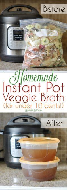 Veggie / Vegetable Broth for Instant Pot from Scraps || Paleo Vegan Whole 30 || Stock Carrot Celery Onion Bell Pepper Squash || Recipe for Soup || Cheap Dinner Idea