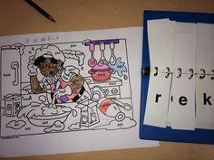 De kinderen maken de woorden van de kleurplaat in hun klikklakboekje. Hebben ze een woord gemaakt mogen ze dat onderdeel van hun kleurplaat inkleuren! Teaching First Grade, Daily Five, Kindergarten, Bee, Teacher, Spelling, Fictional Characters, Honey Bees, Professor